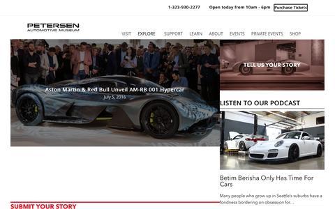 Screenshot of petersen.org - Carstories | Automotive News | Famous Drivers - captured Aug. 30, 2016