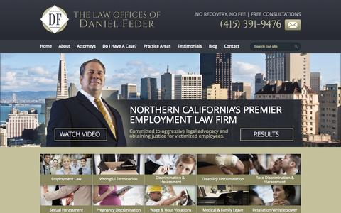 Screenshot of Home Page dfederlaw.com - San Francisco Employment Law and Discrimination Lawyer | The Law Offices of Daniel Feder - captured Oct. 8, 2014