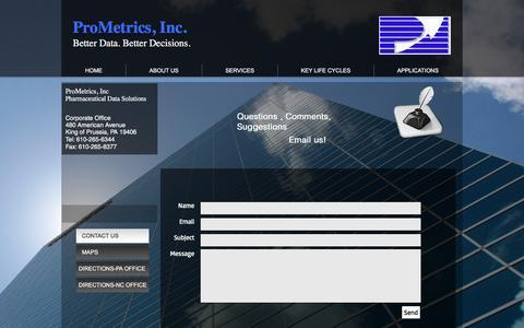 Screenshot of Contact Page prometrics.com - ProMetrics, Inc | Specialty Pharma Data Aggregation | CONTACT US - captured May 22, 2017