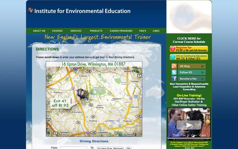 Screenshot of Landing Page ieetrains.com - IEE: Home, Asbestos, Lead, Hazardous Waste, Mold & OSHA training - captured Oct. 27, 2014