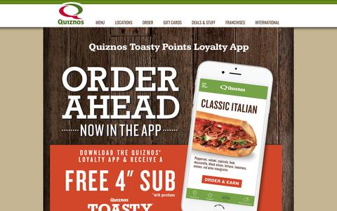 Screenshot of Signup Page quiznos.com - Quiznos Toasty Points - Quiznos Coupons, Quiznos Loyalty Program, Quiznos App ordering - captured Sept. 30, 2018
