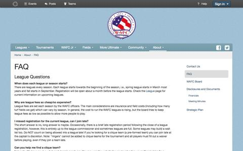 Screenshot of FAQ Page wafc.org - FAQ - Washington Area Frisbee Club - captured Oct. 27, 2014