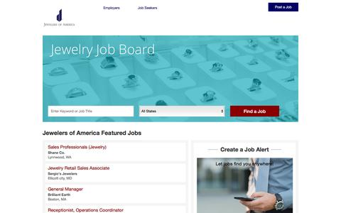 Screenshot of Jobs Page jewelers.org - Jewelers of America Career Center Home - captured Sept. 10, 2016