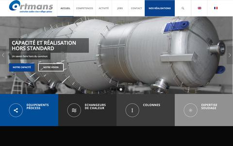 Screenshot of Home Page ortmans.be - CONSTRUCTION SOUDEE ALLIAGE INOX - Ortmans SA - captured Nov. 17, 2018