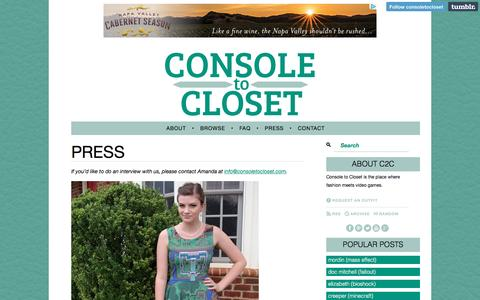 Screenshot of Press Page consoletocloset.com - Press | Console to Closet - captured Dec. 12, 2015