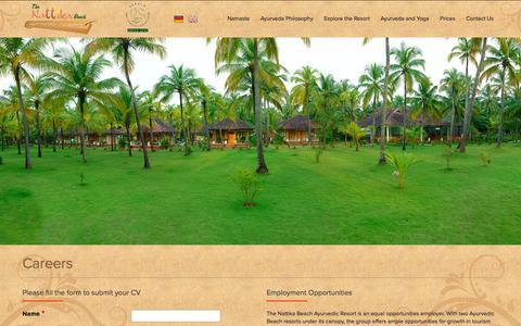 Screenshot of Jobs Page thenattikabeach.com - Careers | The Nattika Beach Ayurveda Resort - captured Oct. 6, 2014