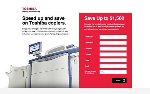 Screenshot of Landing Page toshiba.com - Toshiba America Business Solutions | Multifunction Printers and Copiers, Color Copiers, MFPs - captured Oct. 28, 2014