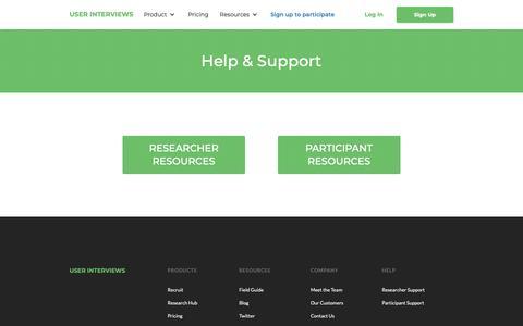 Screenshot of Support Page userinterviews.com - User Interviews | Help Center - captured Nov. 2, 2018