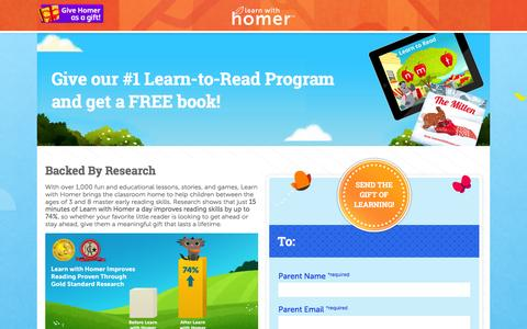 Screenshot of Signup Page learnwithhomer.com - Learn with Homer - Send A Gift - captured Jan. 31, 2016