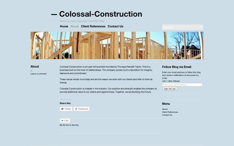 Screenshot of About Page wordpress.com - About   Colossal-Construction - captured Sept. 12, 2014