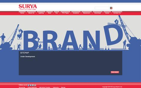 Screenshot of Site Map Page surya.co.in - Welcome Surya Roshni Ltd. - captured Sept. 19, 2014