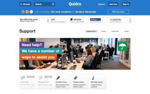 Screenshot of Support Page quidco.com - Help | Quidco - captured July 6, 2016