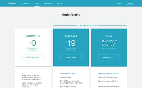 Mode: Pricing - simple pricing that makes data acessible to everyone