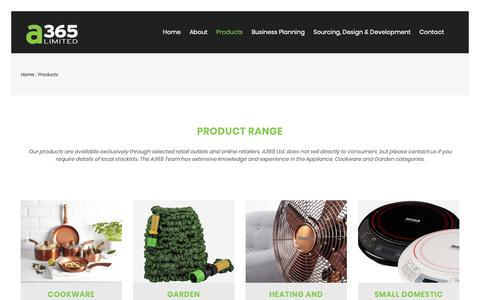Screenshot of Products Page a365uk.co.uk - A365 - Product range available exclusively through selected retail outlets and online retailers - captured Oct. 2, 2018