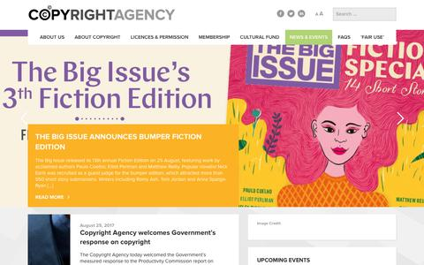 Screenshot of Press Page copyright.com.au - News & Events - Copyright Agency - captured Aug. 30, 2017