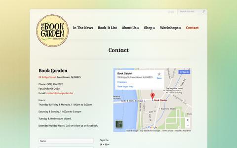 Screenshot of Contact Page bookgarden.biz - Contact | The Book Garden | A Community Bookshop in Frenchtown, NJ | www.bookgarden.biz - captured Feb. 23, 2016