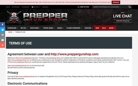 Screenshot of Terms Page preppergunshop.com - Terms of Use | Prepper Gun Shop - captured Sept. 5, 2016