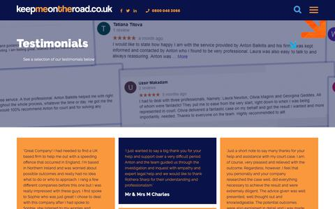 Screenshot of Testimonials Page keepmeontheroad.co.uk - Testimonials Archive - Keep Me On The Road - captured Oct. 22, 2018