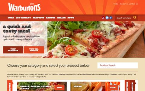 Screenshot of Products Page warburtons.co.uk - Warburtons Bakery, Britain's Favourite Bakery | Warburtons Products | Warburtons Family Bakery - captured Aug. 13, 2015