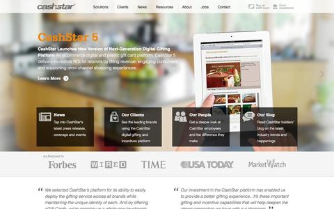 Screenshot of Home Page cashstar.com - Digital eGift Card Programs - Digital Gifting Solutions - captured Sept. 13, 2014