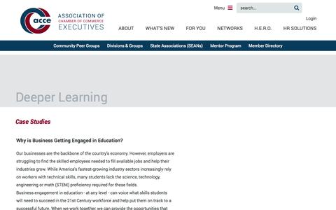 Screenshot of Case Studies Page acce.org - Association of Chamber of Commerce Executives - Deeper Learning - captured Sept. 19, 2014