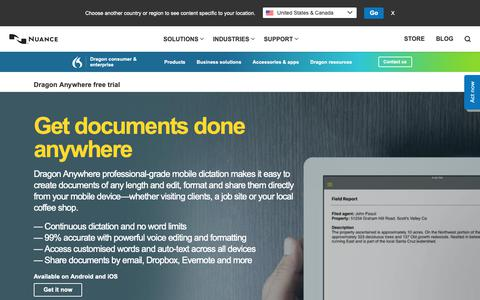Screenshot of Trial Page nuance.com - Dragon Anywhere free trial | Nuance Australia - captured Jan. 14, 2019