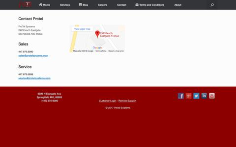 Screenshot of Contact Page protelsystems.com - Contact Protel - Protel Systems - captured July 3, 2018