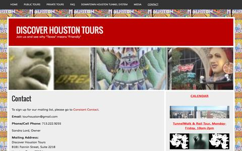 Screenshot of Contact Page discoverhoustontours.com - Contact | DISCOVER HOUSTON TOURS - captured Jan. 8, 2016
