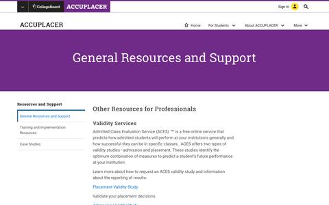 Screenshot of Support Page collegeboard.org - General Resources and Support  – ACCUPLACER – The College Board - captured Sept. 4, 2017