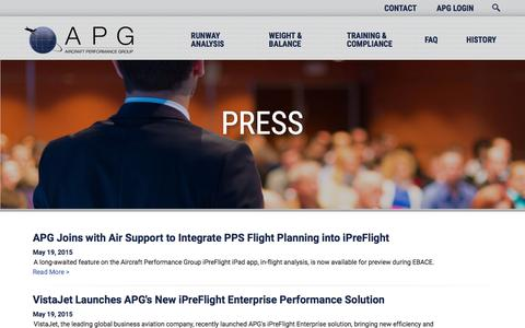 Screenshot of Press Page flyapg.com - Press | APG - captured Nov. 20, 2016