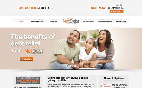 Screenshot of Home Page Terms Page netdebt.com - Debt Settlement with Your Creditors. NetDebt 800-979-6812 - captured Dec. 10, 2016