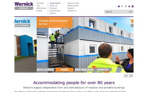 Screenshot of Home Page wernick.co.uk - Modular Buildings UK, Portable Buildings Hire, Temporary Buildings | Wernick - captured Nov. 7, 2017