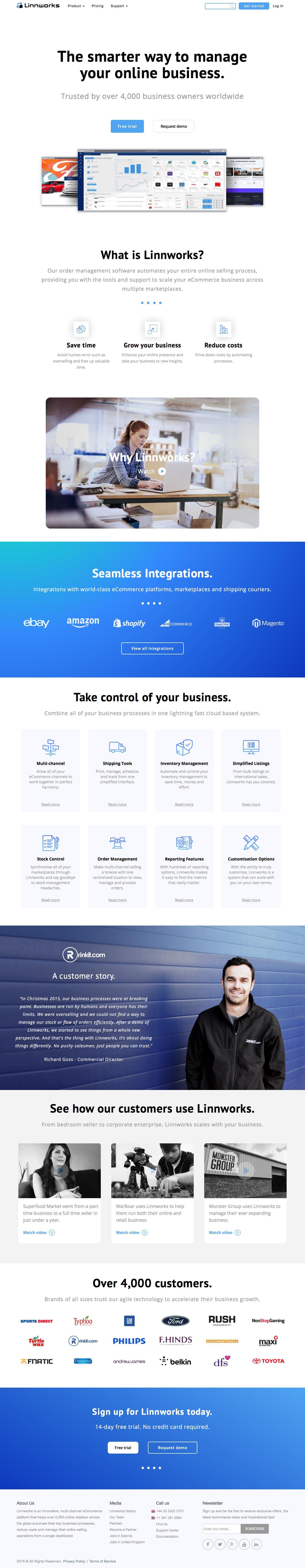 Screenshot of linnworks.com - Linnworks | Order Management Software - captured March 24, 2018