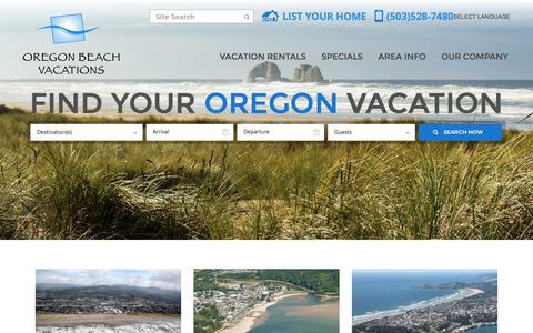Screenshot of Home Page oregonbeachvacations.com - Oregon Coast Vacation Rentals | Oregon Beach Vacations - captured July 2, 2018