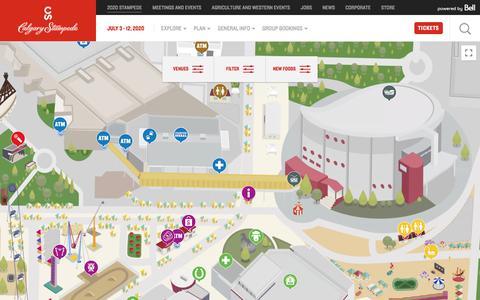 Screenshot of Maps & Directions Page calgarystampede.com - Stampede Ground Maps & Venues | Calgary Stampede July 3-12, 2020 - captured Feb. 9, 2020