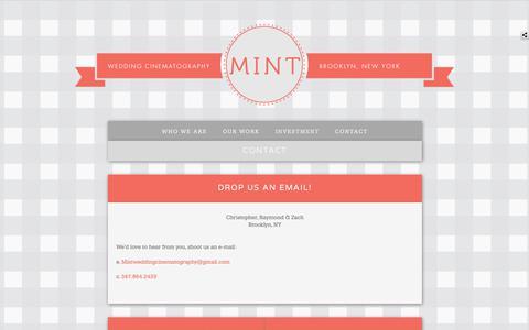 Screenshot of Contact Page mintweddingcinematography.com - Mint Wedding Cinematography | Contact | Brooklyn, NY - captured Nov. 12, 2019