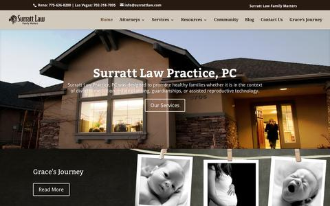 Screenshot of Home Page surrattlaw.com - Family Law Attorneys, Divorce Lawyers, Reno NV. - captured Feb. 16, 2016