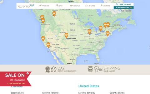 Screenshot of Locations Page myessentia.com - Essentia Locations - Mattress Store Locations - captured Nov. 2, 2014