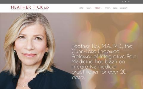 Screenshot of About Page heathertickmd.com - Meet Heather - Heather Tick - captured Nov. 3, 2014