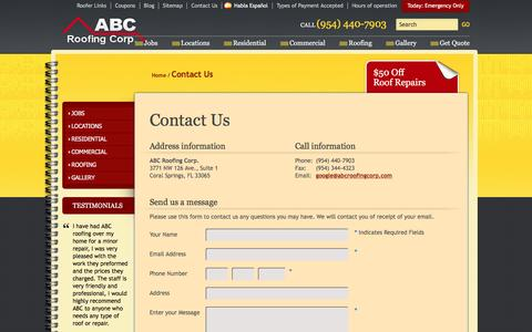 Screenshot of Contact Page abcroofingcorp.com - ABC Roofing Corporation Coral Springs | (954) 440-7903 - captured May 28, 2017