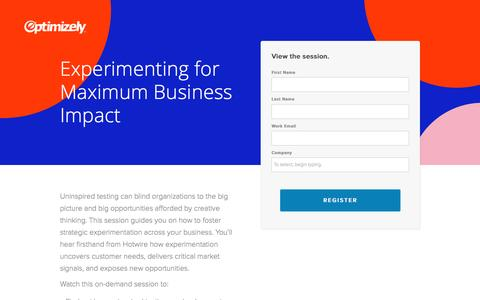 Screenshot of Landing Page optimizely.com - Experimenting for Maximum Business Impact - captured April 29, 2017
