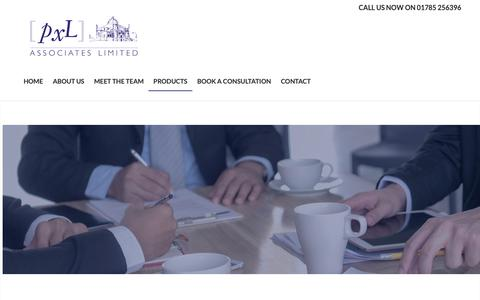 Screenshot of Products Page pxlassociates.co.uk - Products | PXL Associates | Insurance, Mortgages, Finance in Stafford - captured Sept. 30, 2018