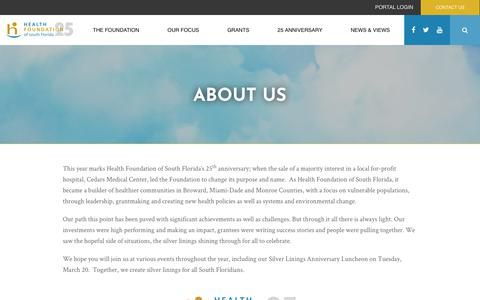 Screenshot of About Page hfsf.org - About Us - Health Foundation of South Florida - captured Sept. 27, 2018