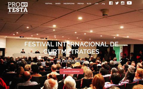 Screenshot of Home Page festivalprotesta.cat - FESTIVAL PROTESTA – Festival internacional de curtmetratges de crítica social - captured March 13, 2016