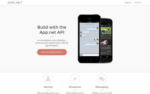 Screenshot of Developers Page app.net - App.net API - captured Sept. 12, 2014