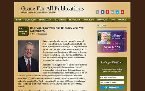 Screenshot of Blog grace4all.com - Grace For All Publications: Musical Resources for the Church Musician - captured Nov. 2, 2014