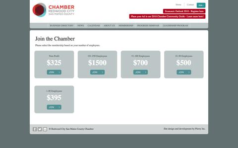 Screenshot of Signup Page redwoodcitychamber.com - Join The Chamber - captured Nov. 1, 2017