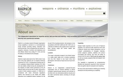 Screenshot of About Page radnor.org.uk - About Us |  Ballistic trials | Radnor Range - captured Oct. 7, 2014