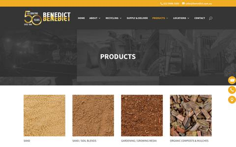 Screenshot of Products Page benedict.com.au - Construction, Landscaping & Recycled Materials - Benedict Industries - captured Oct. 10, 2017