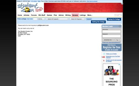 Screenshot of Contact Page student.com - Student Center, Student.com, Student Center Network, teens, students, teen, student, college students, high school students, StudentCenter - captured Oct. 31, 2014